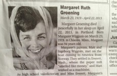 How many Simpsons characters do you recognise from this obituary?
