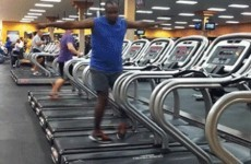Weird video of a man dancing on a treadmill in a gym