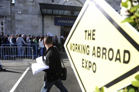 People queue for the Working Abroad Expo in Dublin