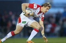Andrew Trimble misses his kick, falls on his face instead