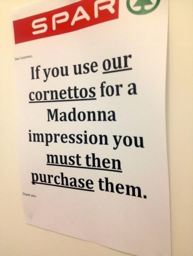 Sorry, Spar - if we use your Cornettos for WHAT?