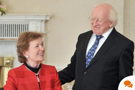 President Michael D Higgins pictured with former President of Ireland, Mary Robinson as the Elders visit to Aras an Uachtarain.