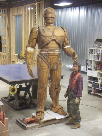 Want to see pictures of Detroit's almost-finished Robocop statue?