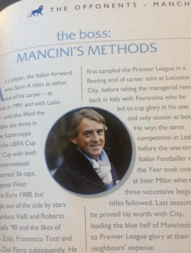 The match programme for tonight's Reading-Manchester City is a little out of date