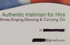 Authentic Irishman for hire has the best business card you'll see today