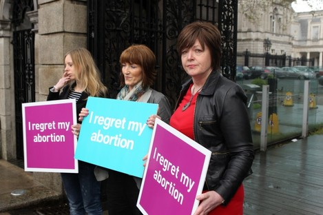 Members of group Women Hurt outside the Dáil today.