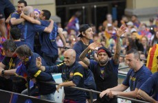 Watch as Barcelona enjoy their title celebrations a little too much
