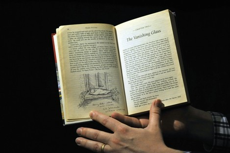 The Harry Potter book includes personal annotations written by J.K. Rowling.