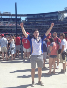 Ex Wicklow player celebrates Leinster SFC win at baseball game in Washington