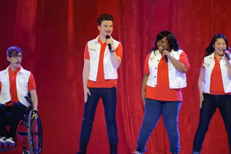 Some of the stars of Glee performing