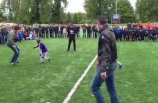 Van Persie shows off his skills to youngsters at football tournament in Rotterdam