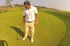 Golfer flips his club while juggling a ball in an incredible trick shot video