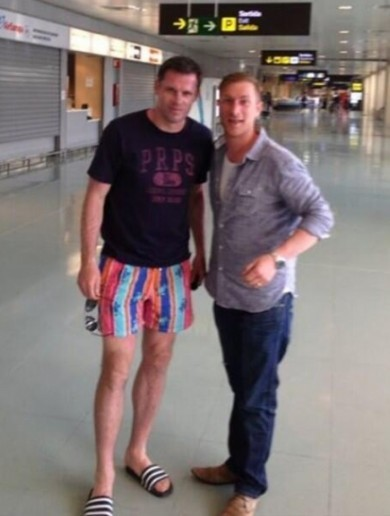Look at the state of the shorts Jamie Carragher is wearing in Ibiza