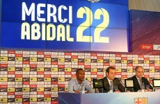 Eric Abidal in tears as he leaves Barcelona