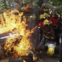 Firefighters vs police in Spain austerity protest
