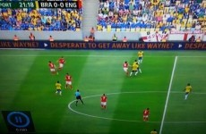 Advertising board at the Maracana has a dig at Wayne Rooney