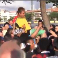 Neymar lookalike gets mobbed by Barcelona fans outside the Nou Camp
