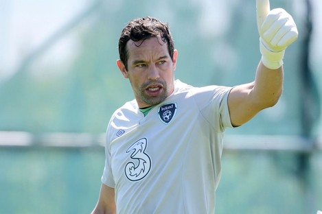 Thumbs up: Ireland goalkeeper David Forde trained alone today.