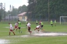 The best goal celebration featuring a large puddle you'll see today