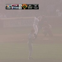 The Cubs and Reds played last night in some seriously thick Chicago fog
