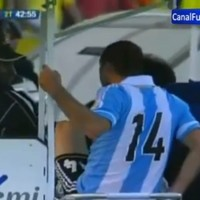 Mascherano gets sent off for kicking the dude who drives the stretcher