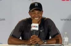Tiger Woods giggled when a reporter asked him what he does to relax off the course