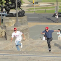 Rory McIlroy races his coach up The Rocky Steps in Philadelphia