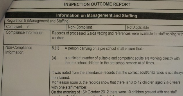 HSE: 'Creche breached child-adult ratio - we marked it compliant by accident'