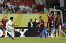 Luis Suarez scored this free-kick for Uruguay but Spain get off to a flier in Brazil