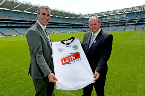 Donegal manager and Celtic performance consultant Jim McGuinness and GAA President Liam O'Neill.