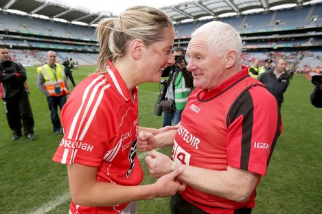 Murphy and Ryan celebrate Cork's win in the 2012 All-Ireland Ladies' Football Final.
