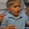 Watch this 3-year-old hear his dad's voice for the first time