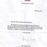 Queen Elizabeth was invited to the Leitrim-London game in Carrick this week but can't make it