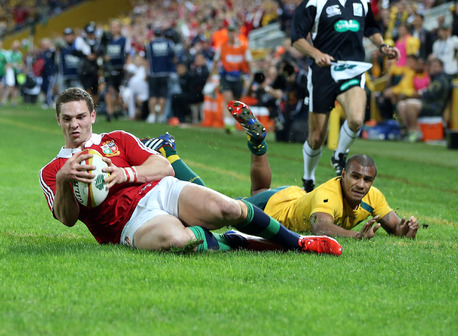 George North slides over to score the first Lions try.