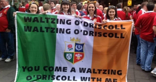 Irish Lions supporters crack out amazing 'Waltzing O'Driscoll' flag Down Under
