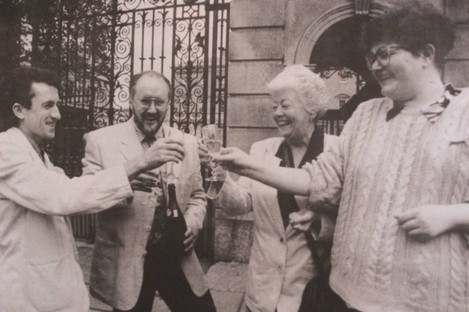 Kieran Rose, Chris Robson, Phil Moore and Suzy Byrne celebrate the decriminalisation