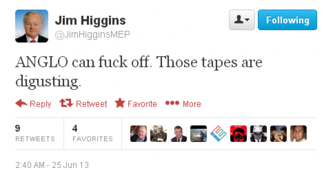 "Irish MEP's Twitter account tells Anglo to ""f**k off"", he says he was hacked"