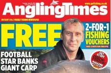 Gone fishin': Tony Hibbert is on the cover of this month's Angling Times, ladies
