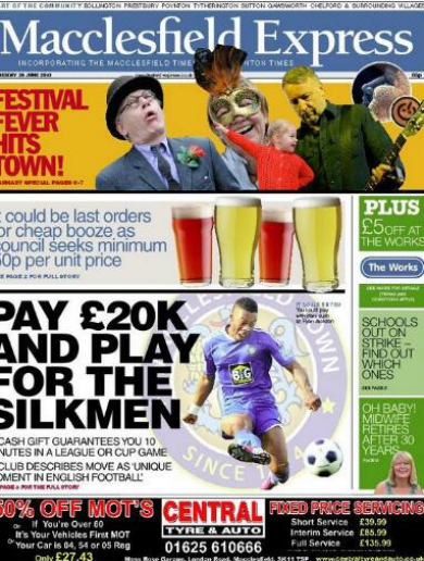Pay £20k and Macclesfield Town will let you play for them...for at least 10 minutes