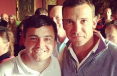 Elmo from Love/Hate* and Andriy Shevchenko photobombed by Mick O'Driscoll at Carton House