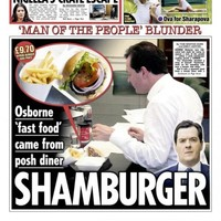 The British chancellor's choice of a posh burger is front page news in the UK