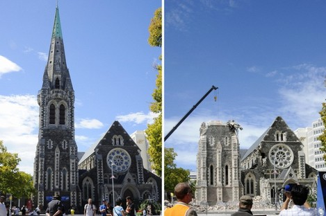 The cathedral in Christchurch, pictured (left) before and (right) after last month's earthquake.