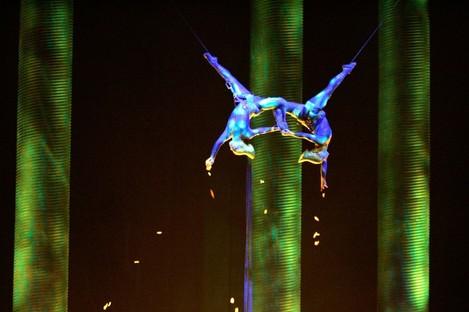 File photo of Sarah Guyard, left, and Sami Tiaumassi in a performance in Las Vegas.