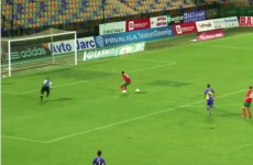 Player botches open goal sitter by nutmegging himself then blazing over