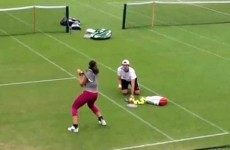 Tennis star hits 14 backhands in 14 seconds to warm up