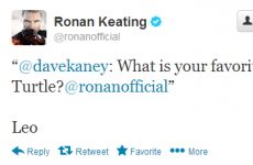 Tweet Sweeper: Which ninja turtle is Ronan Keating's favourite?