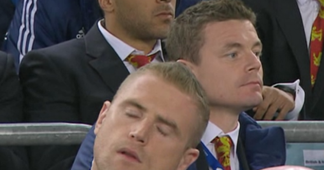 Snapshot: Jamie Heaslip fell asleep* while watching the Lions game today