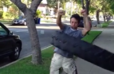 WATCH: Man does impressive hula hoop dance with giant tire
