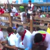 New York Jets coach Rex Ryan escapes a bull in Pamplona