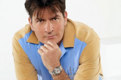 Charlie Sheen as Charlie Harper in the cancelled hit TV show, Two and a Half Men.